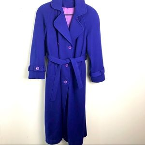 Vintage 1980s Purple 100% Virgin Wool Overcoat